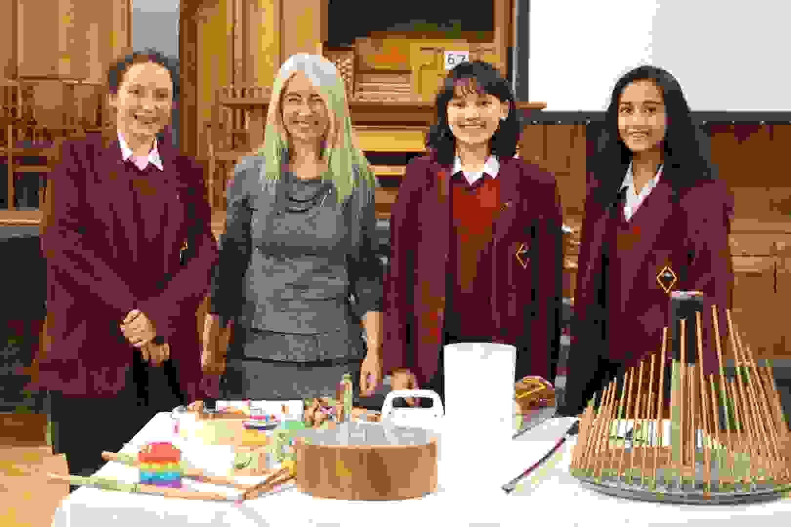Dame Evelyn Glennie with pupils