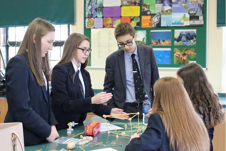 Physics Olympics - Sixth Former assists a group in Jelly Baby Towers
