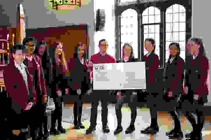 Y10 Christie's Cheque Presentation - Cheque Handover