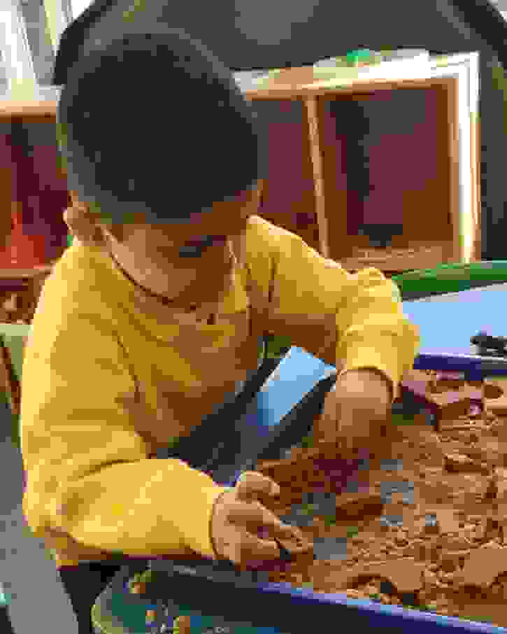 3 Little Pigs - Boy building a brick house