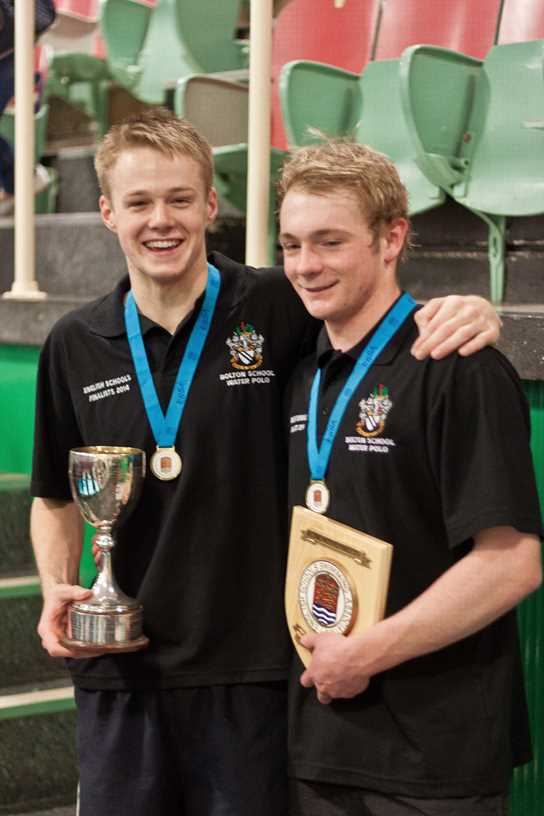 Aaron Winstanley and Lewis Daly are pictured here having triumphed in the 2015 national schools' ESSA Water Polo Final