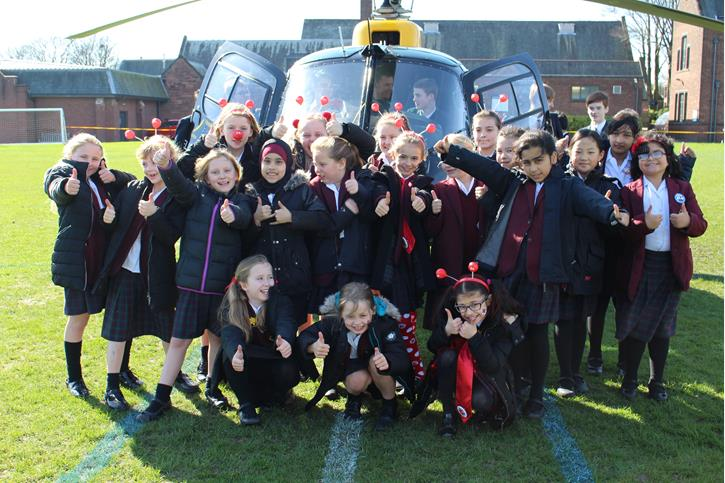 OB's Flying Visit Jr Girls with Helicopter Red Nose Day
