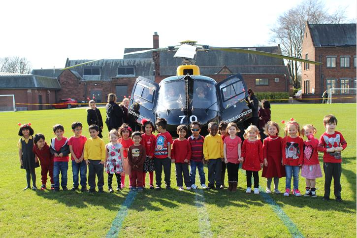 OB's Flying Visit Nursery children with Helicopter
