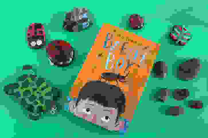 Beetles & Bugs book with crafted bugs