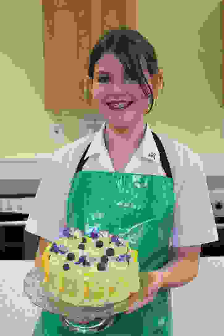 Bake Off 2017 Yasmin with her Lemon and Blueberry Triple Layer Cake