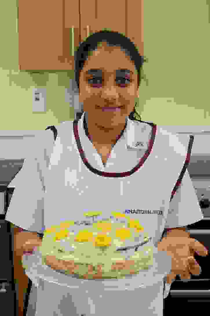 Bake Off 2017 Khadijah with her Supreme Mango and Passion Sponge
