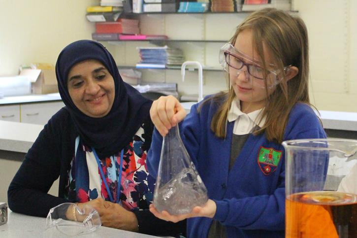 Thomasson Memorial Science Lessons - girl with beaker