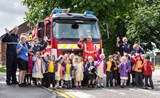 Emergency Services Week - Children with the Fire Engine