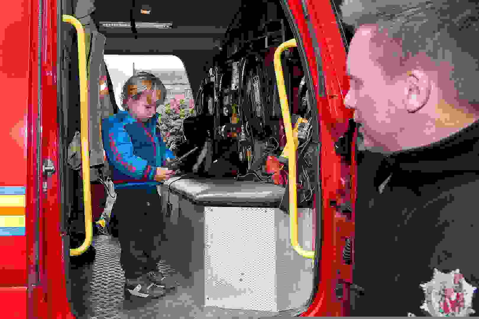 Emergency Services Week - Children in Fire Engine