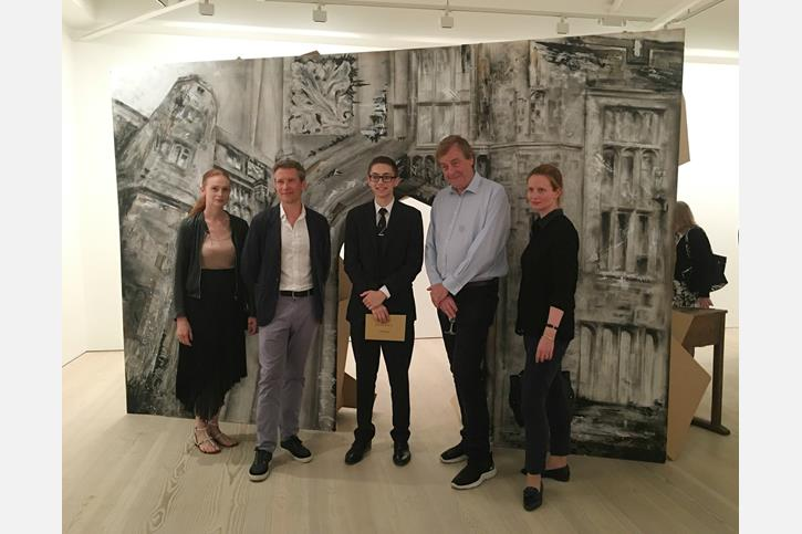 Saatchi Art Prize - Adam with the judges and his art