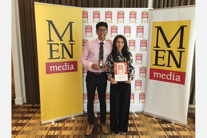 MEN Schools Awards Win - students holding the award