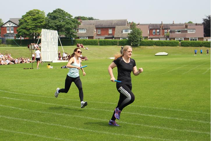 Summer Fundraising - Staff Relay Miss Langley and Mrs Brace