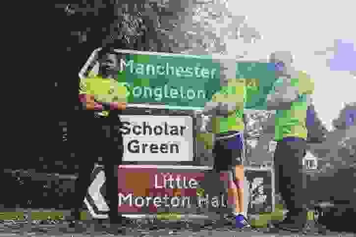 Grenfell Tower to Manchester Arena walk - first Manchester sign