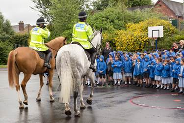 Police Horses visit - excited children