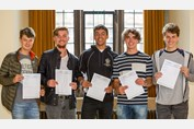 A Level Results Day 2017 Boys in Great Hall