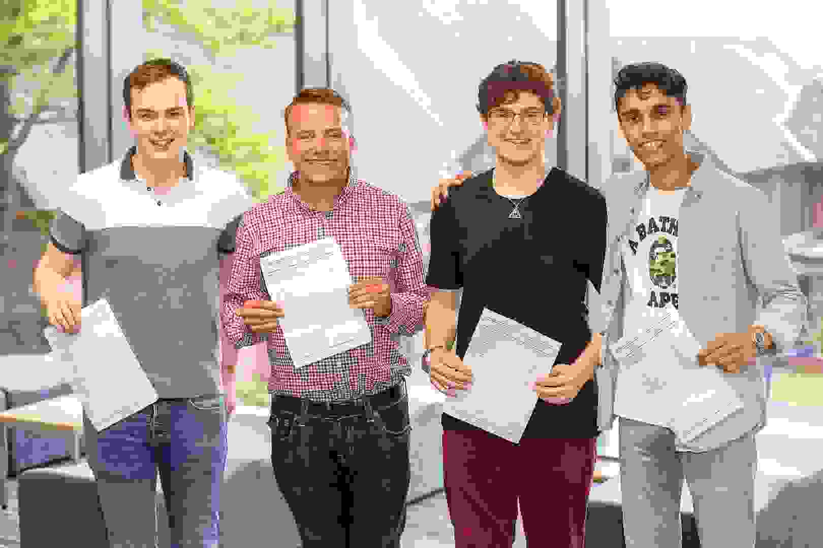 A Level Results Day 2017 boys in Riley Centre