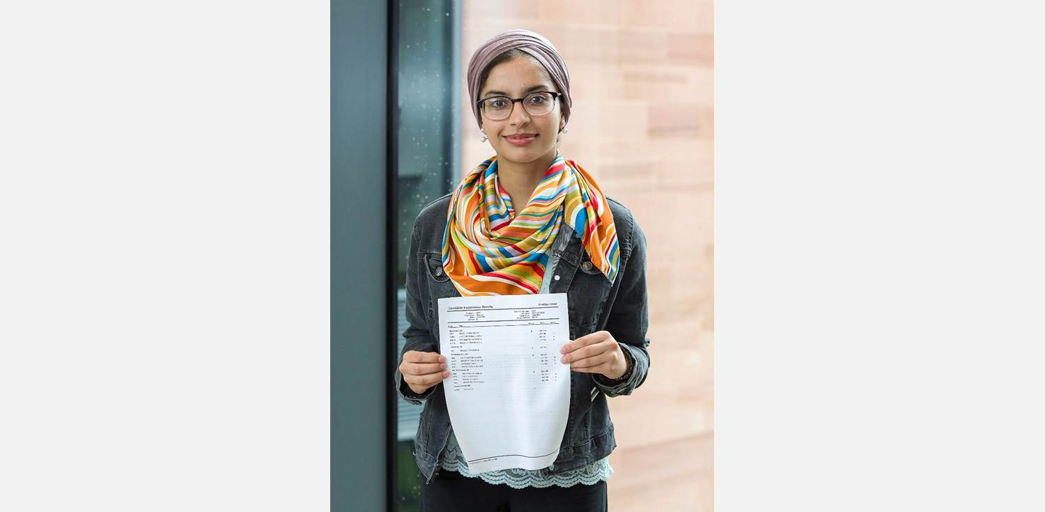 A Level Results Day 2017 Girl with results