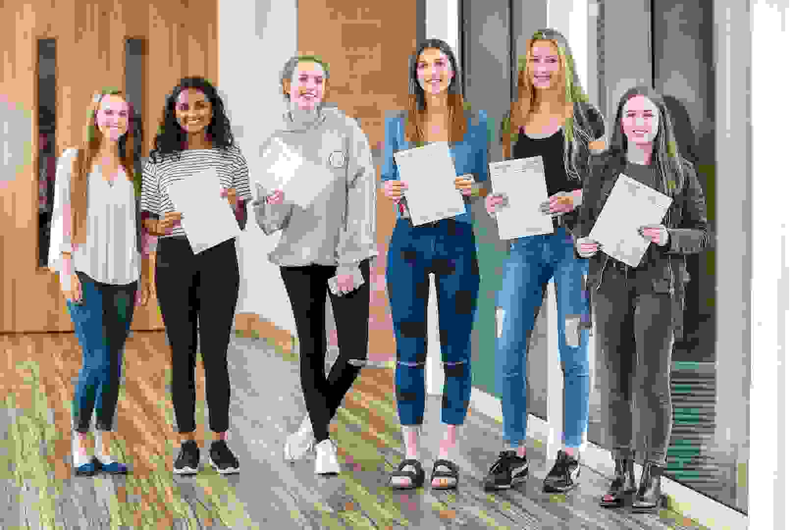 A Level Results Day 2017 Girls in Riley corridor