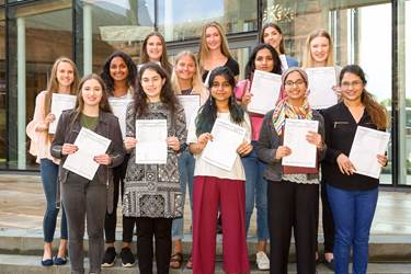 A Level Results Day 2017 successful girls outdoors