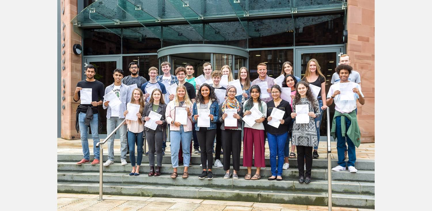 A Level Results Day 2017 successful students outdoors