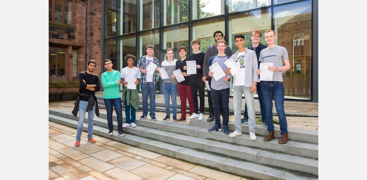 A Level Results Day 2017 successful boys outdoors