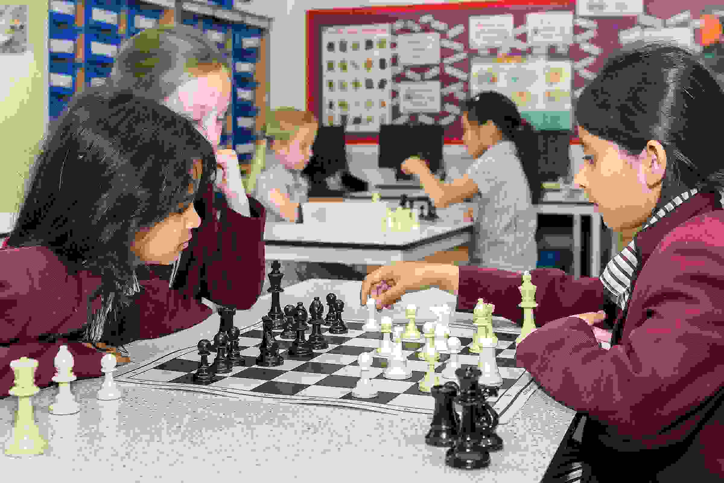 Junior Girls playing chess
