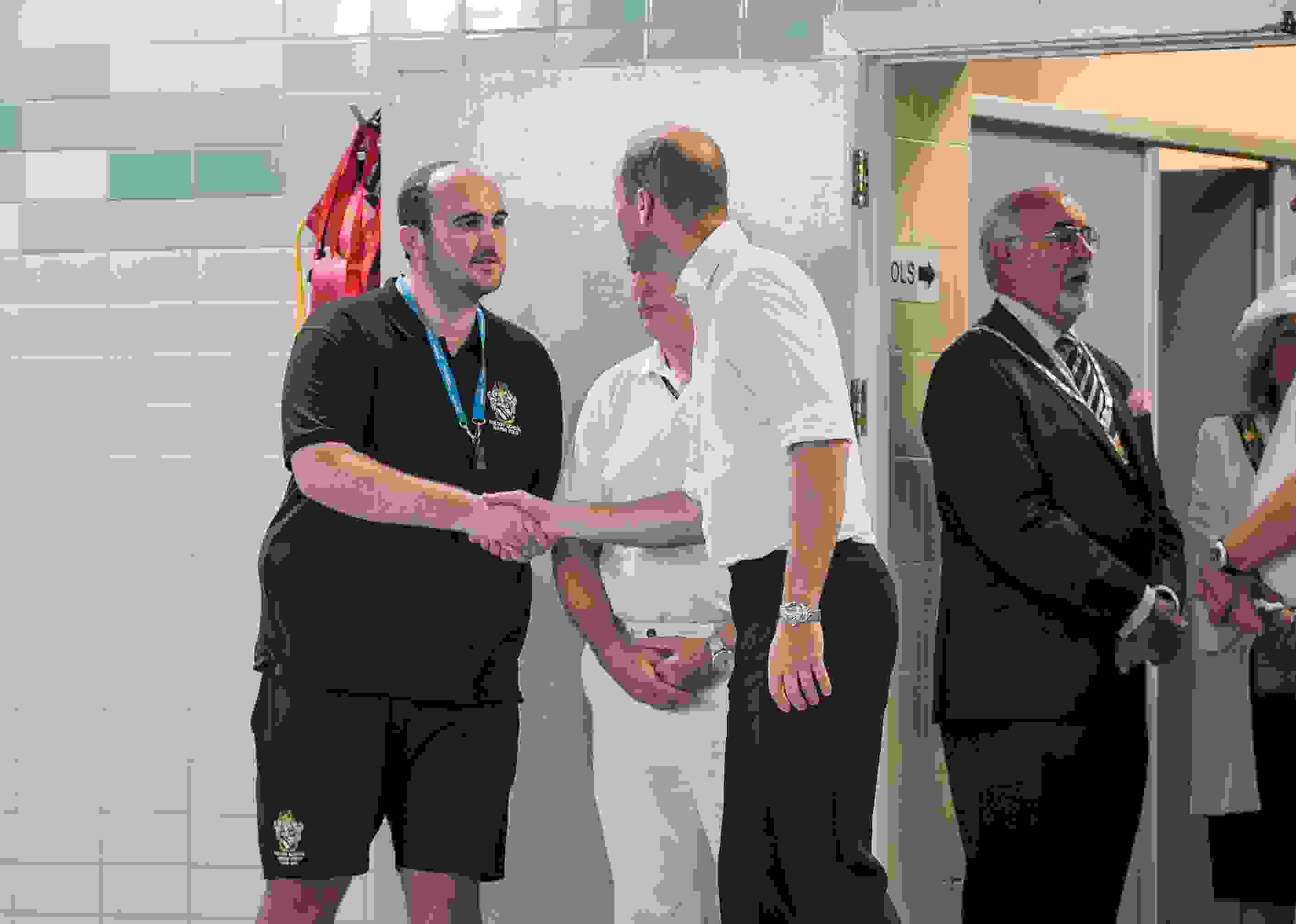 Water Polo Royal Visit - Andy McGinty shaking hands with Prince William