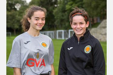 Footballers Lizzie and Anna