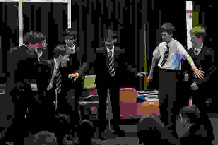 Mass Observation Project boys working with RoughHouse Theatre