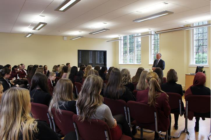 Sir David Crausby addressing pupils