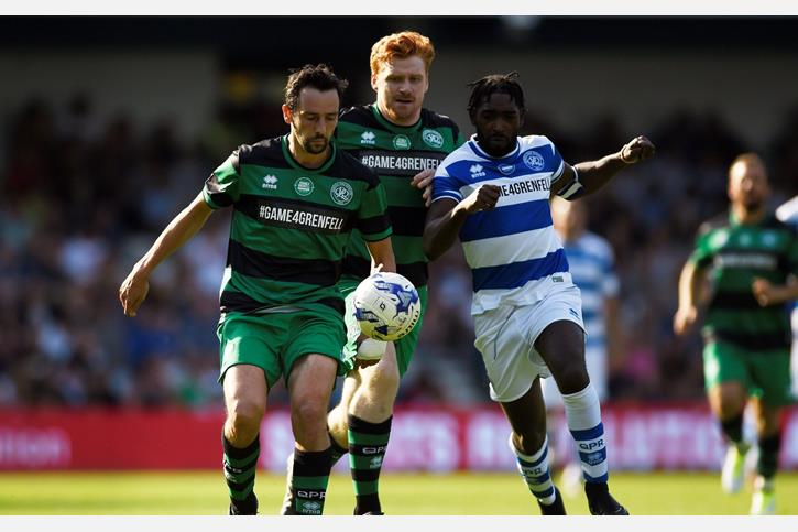 Ralf Little in the Game4Grenfell - from The Telegraph, Credit Reuters