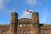 Remembrance Day flag at half mast