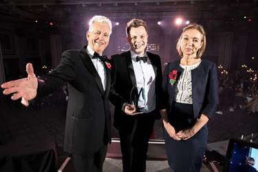 MEN Business Awards Cathy Fox with Nick Owen and Real Handful