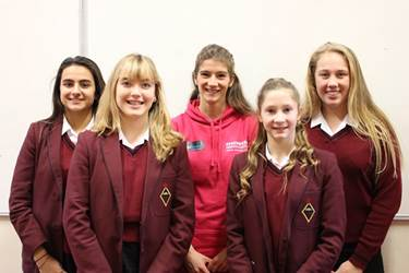 Sian with some of the School's talented athletes