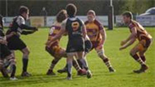 Matthew Lamprey (2nd from right) in action for Sedgley Park