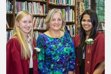 Lesley Ainsworth with Head Girl Jessica Melling and one of the Deputy Head Girls, Ananya Baksi