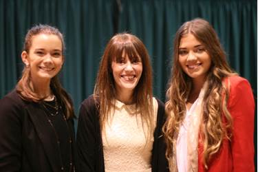 Lizzie (centre) gave a fascinating talk on her career in media to Year 12 girls