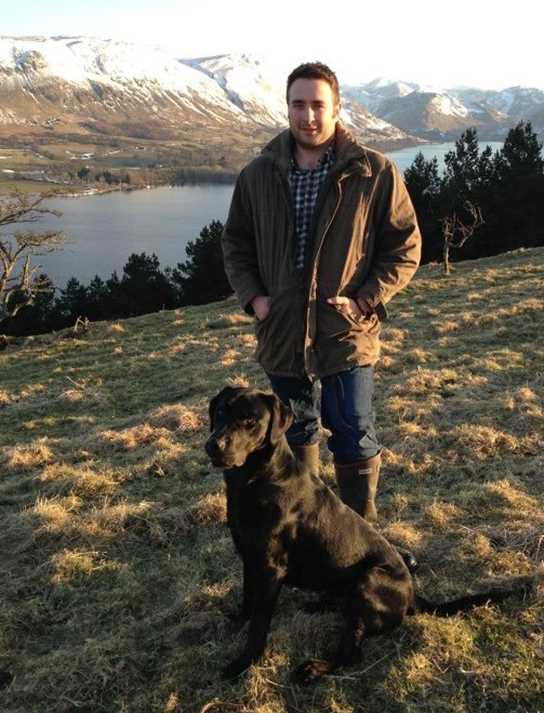 Andrew and his dog in the beautiful Cumbria countryside