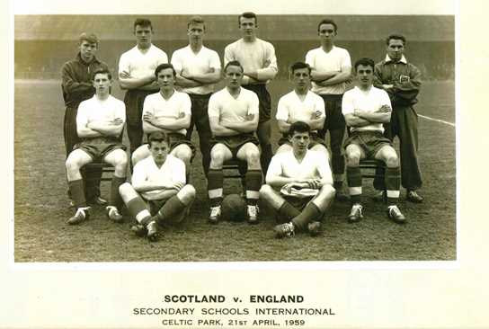 The England School Boys team - Peter Jarvis (Goal Keeper, Back Row), and Geoff Ogden (sitting cross-legged on the right)
