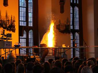 Lots of flashes and bangs in the Great Hall as the School hosted the Royal Society of Chemistry's annual Christmas Lecture