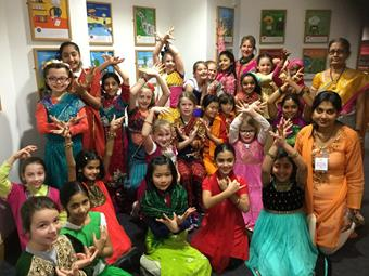Girls tried on traditional Indian clothing