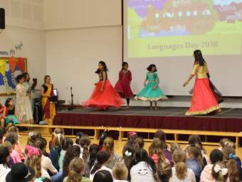 Girls performed a Bollywood-style dance in assembly