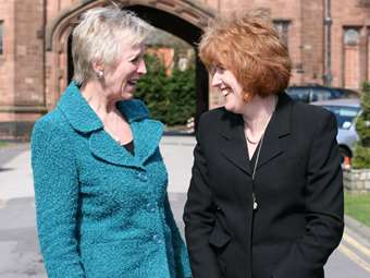 Mrs Gill Richards welcomes new Head of the Girls' Division, Miss Sue Hincks, in April 2011