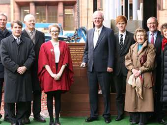 Current and former Head Girls and School Captains lay the Foundation Stone for the new Sixth Form Centre on 12 December 2012