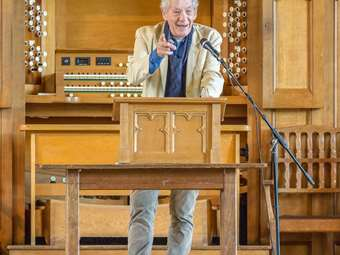 Old Boy Sir Ian McKellen returned to Bolton School to talk to boys about Stonewall and equality