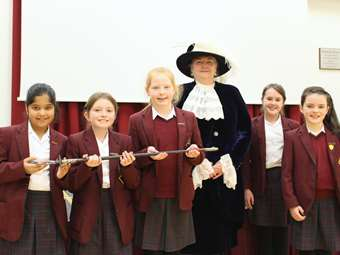 The High Sheriff of Greater Manchester, the Lady Smith visited her former school, speaking to the Junior and Senior Girls