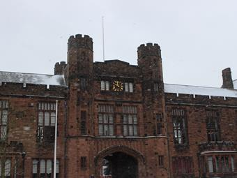 Bolton School looking wintry during heavy snowfall in February 2018