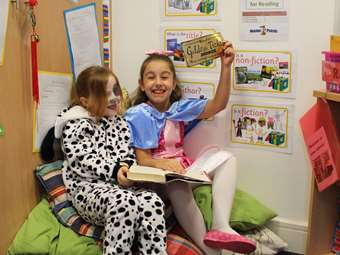 A Dalmatian and Veruca Salt in the Book Corner