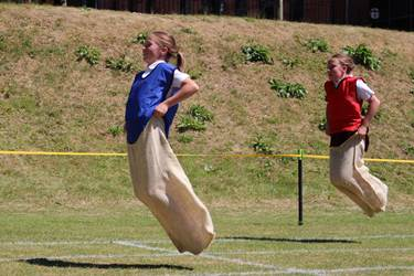 Sports Day sack race pair