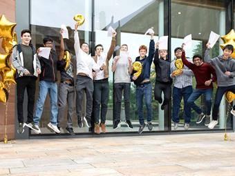 BD GCSE Results Day jumping outside KKP-000509